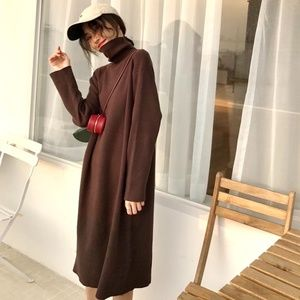 Brand-new brown turtle neck long sleeve dress